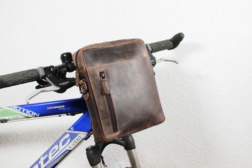 3 in 1 leather bicycle bag, belt bag in brown
